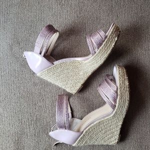 Shoes - Enzo Angiolini Pink Sparkly Platform Wedges